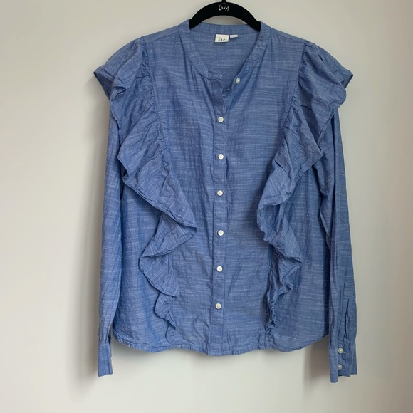 Gap Blue Ruffle Long Sleeve Button Down Shirt A24